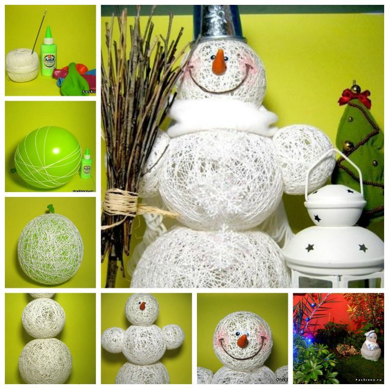 Adorable-Snowman DIY Using-Yarn-and-Balloon