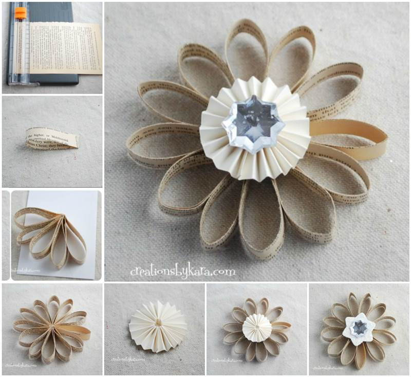 DIY-Book-Page-Flower-Christmas-Ornament