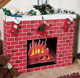 Christmas Cardboard Fireplace DIY Tutorial | BeesDIY.com