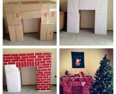 DIY CardboardFireplace for Christmas