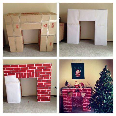 Christmas Cardboard Fireplace DIY Tutorial