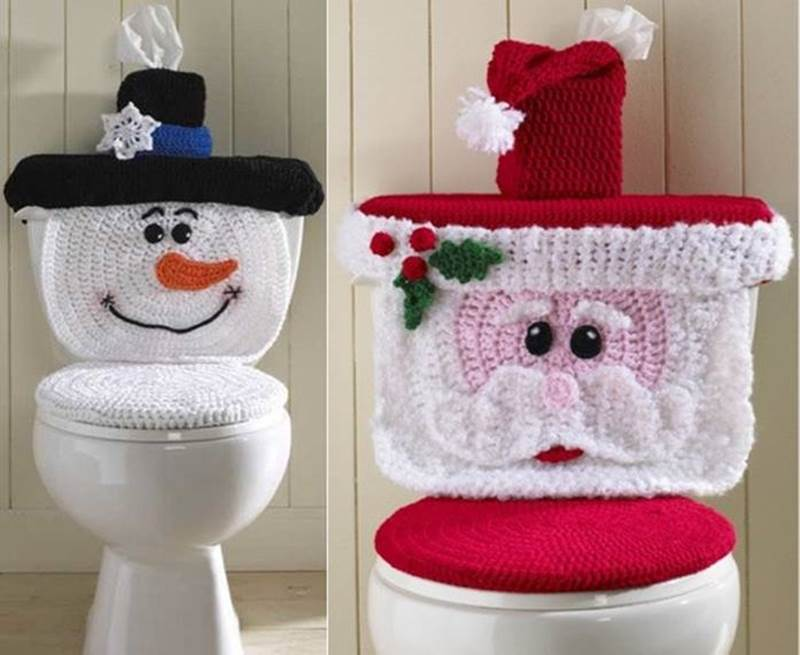 Christmas Crochet Patterns Santa Amp Snowman Toilet Cover