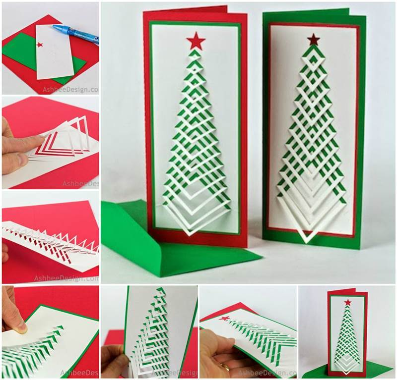 Diy christmas tree card tutorials for Christmas ideas for christmas cards