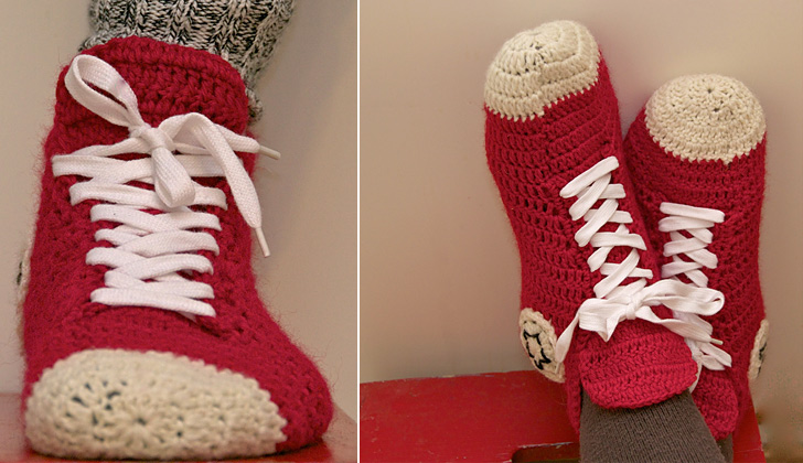 Free Crochet Pattern Converse Shoes : Crochet Converse Slippers Pattern ( FREE) BeesDIY.com