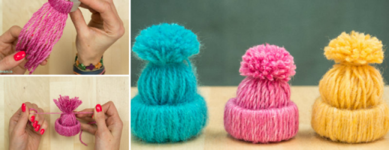 DIY Cute Yarn Hat Ornaments