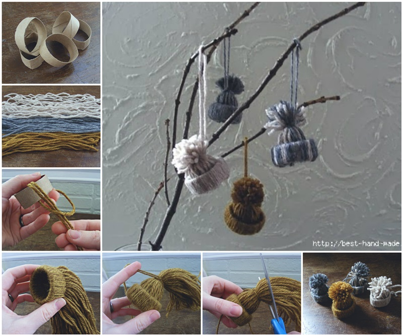 DIY-Cute-Yarn- Hat-Ornaments