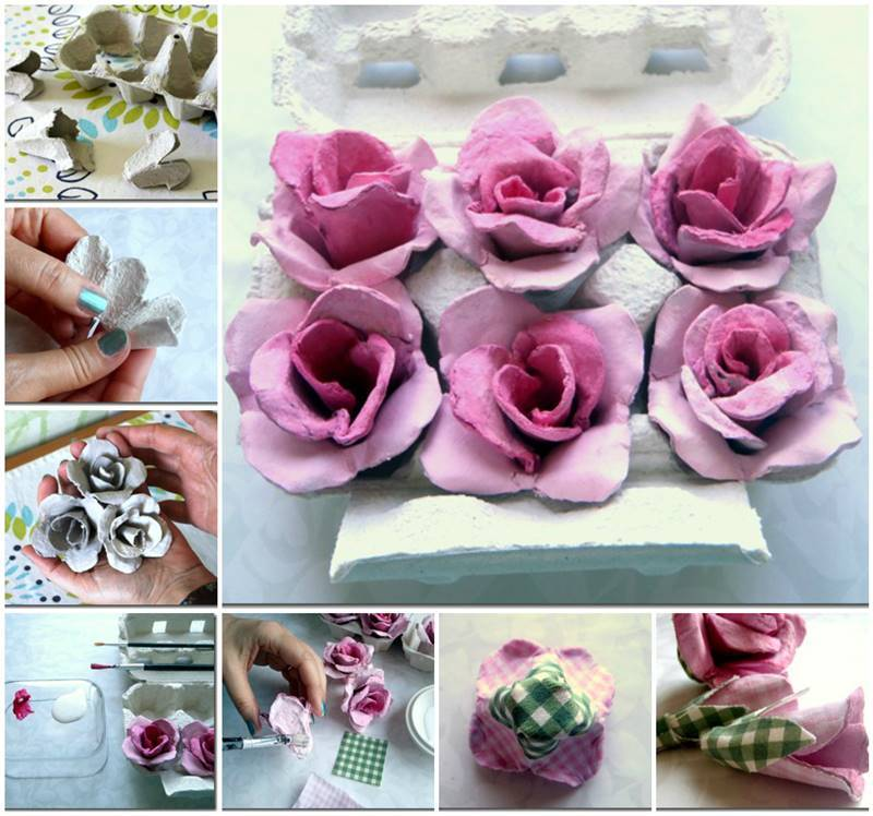Diy egg carton flower lights Egg carton flowers ideas