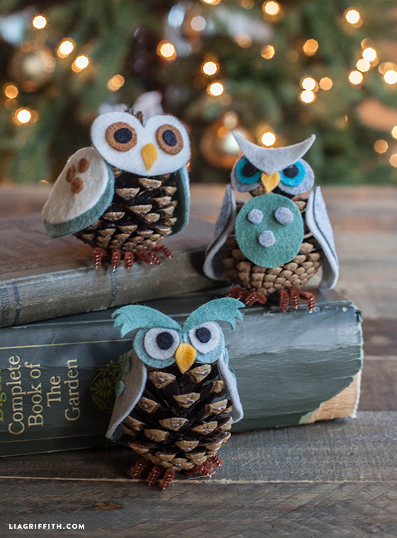DIY-Felt Pinecone-Owl-Ornaments