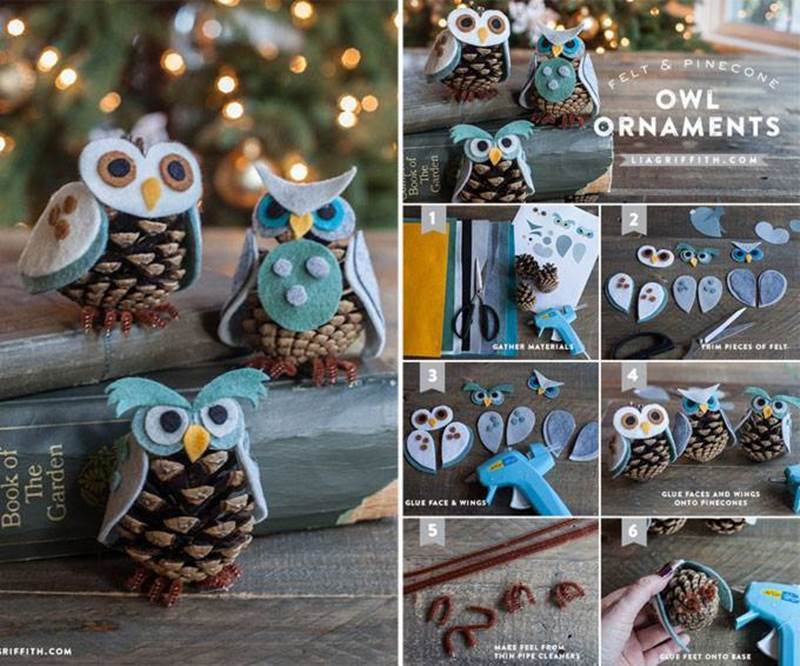 DIY Owl Ornaments From Felt and Pine Cone