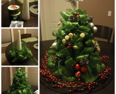 DIY Mesh Ribbon Christmas Tree Centerpiece