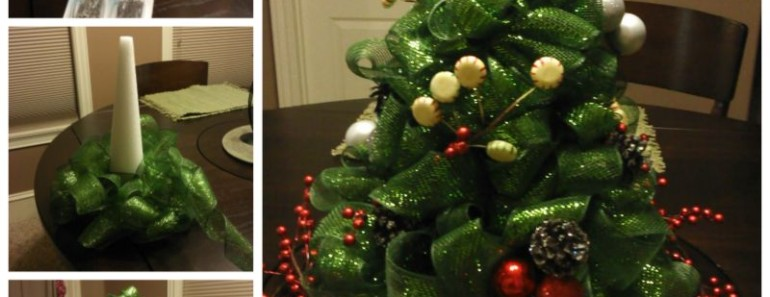 DIY Mesh Ribbon Christmas Tree