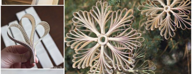 DIY Paper Book Snowflake Ornaments