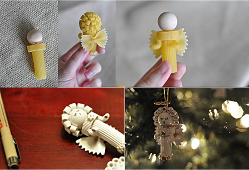 diy pasta angels christmas ornaments beesdiy com