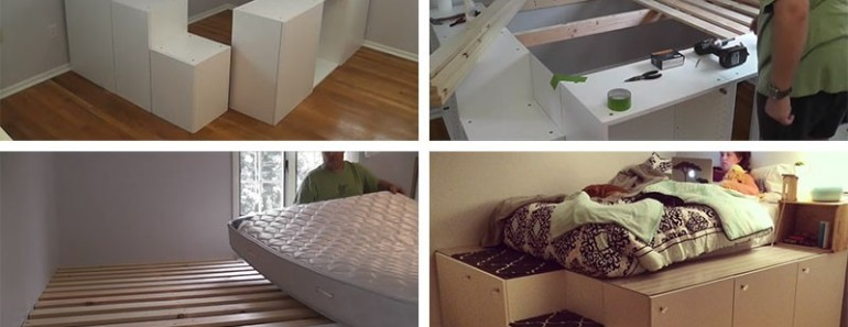 DIY Platform Bed from IKEA Kitchen Cabinets