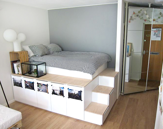 DIY-Platform-Bed-from-IKEA-Kitchen-Cabinets 3