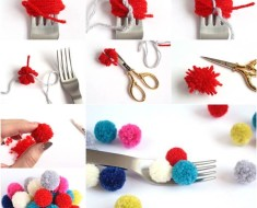 DIY Pom-Poms with a Fork