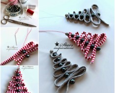 Ribbon-Bead-Christmas Tree-Ornament DIY