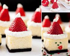 Strawberry Santa Hat Cheesecake Bites