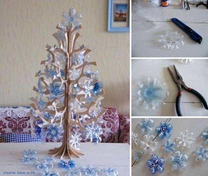 DIY Snowflake ornaments from plastic bottles