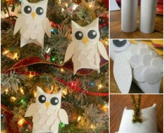 DIY Snowy Owl-Ornaments from paper rolls