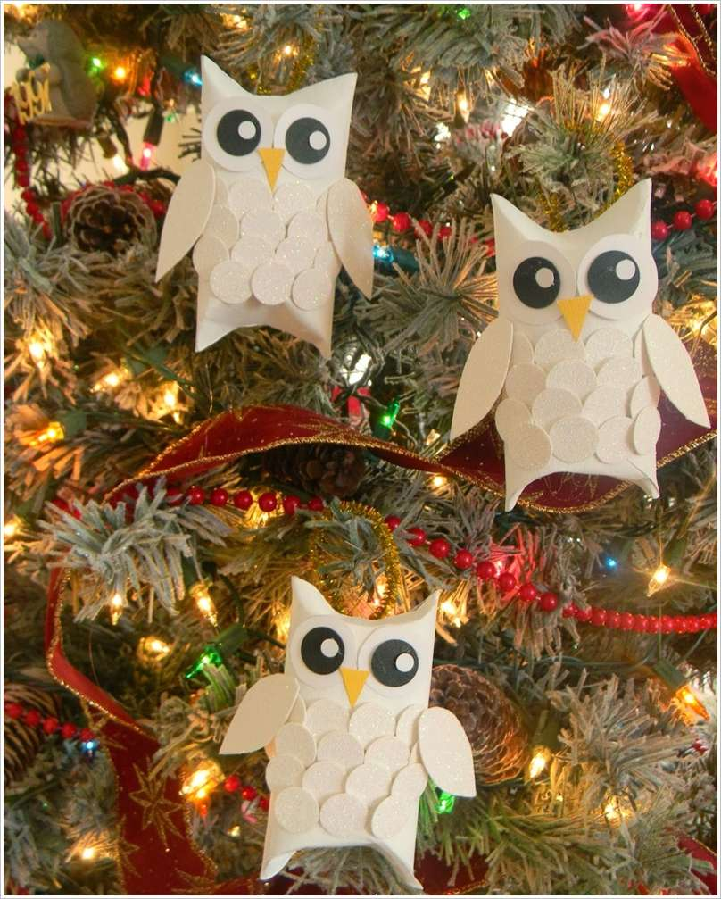 DIY Christmas Snow Owl Ornaments From Paper Rolls