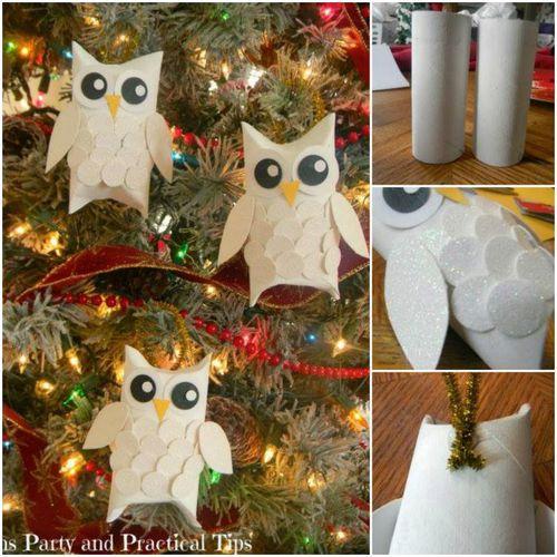 DIY Christmas Snow Owl Ornaments From Paper Rolls | BeesDIY.com