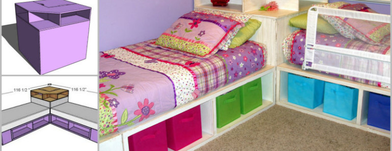 Space Saving –DIY Corner Unit for Twin Storage Bed