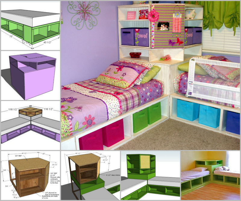 28 smart hacks to organize kid s room beautifully for Room design 2 twin beds