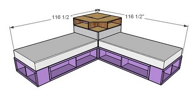 DIY Space Saving Corner Twin Beds Set4