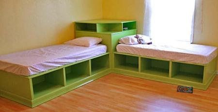 DIY Space Saving Corner Twin Beds Set5