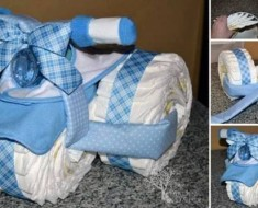 DIY Baby Gift -- Cute Tricycle Diaper Cake