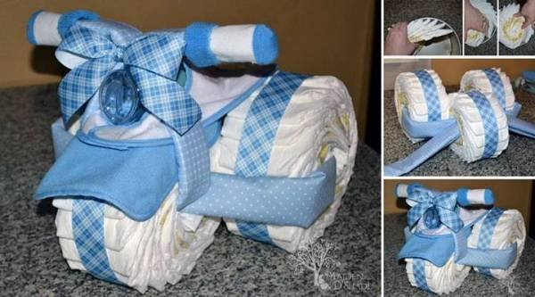 DIY Cute Tricycle Diaper Cake baby gift