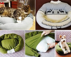 DIY homemade-pet -bed from sweater