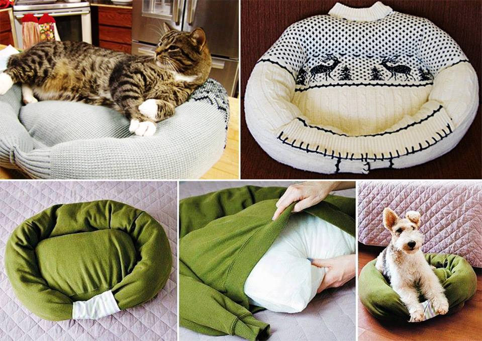 Diy pet bed from old sweater tutorial for Make a cat bed out of a box