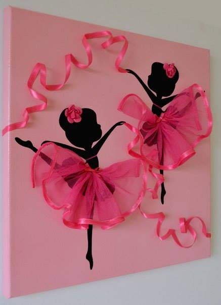 Adorable Dancing Tutu Ballerina Canvas Wall Art