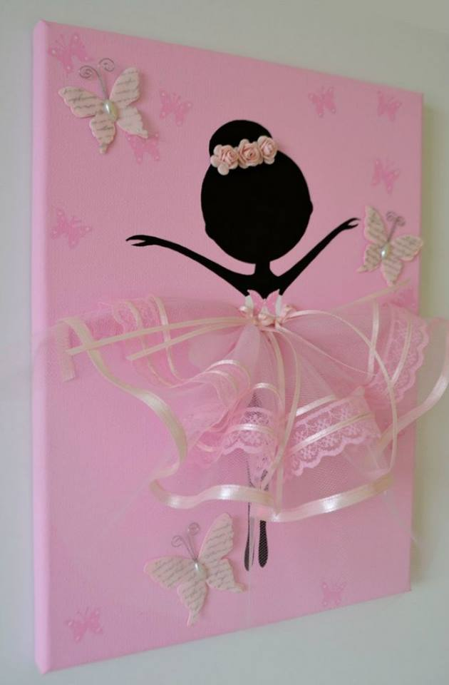 Adorable Dancing Tutu Ballerina Canvas Wall Art Beesdiy Com
