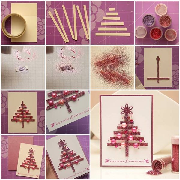 Diy christmas tree card tutorials beesdiy glittery diy christmas tree card m4hsunfo
