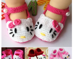Hello Kitty Crochet Slippers