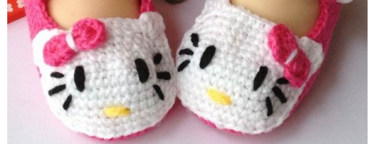 Hello Kitty Crochet Slippers Pattern