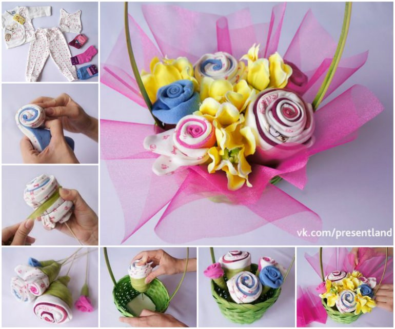 DIY Baby Clothes Flower Bouquet Tutorial | BeesDIY.com