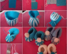 How-to-DIY-Cute-Pom-pom-Decorated-Knitted-Baby-Booties