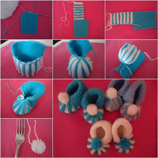 Knitted Baby Booties with Cute Pom-Pom Flower