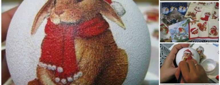How to Decoupage Bauble Ornaments with Napkin  (Video)