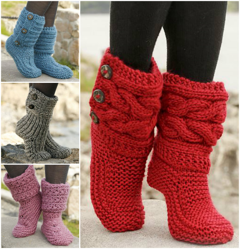 Free Knitted Slippers Pattern : 8 FREE Knitted & Crochet Slipper Boots Patterns BeesDIY.com