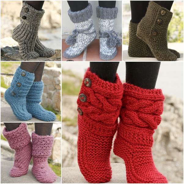 Knitted-and-Crochet-Slipper-Boots-FREE-Patterns