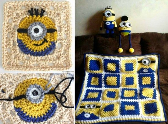 Crochet Granny Square Hat Pattern Free : 10+ Super Cute Crochet Minion Patterns BeesDIY.com