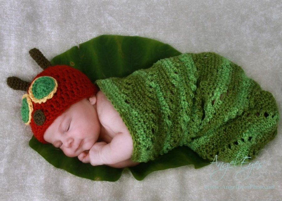 crochet Newborn Caterpillar Hat & Cocoon free pattern