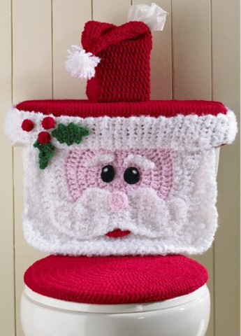 Christmas Crochet Patterns Santa Toilet Cover
