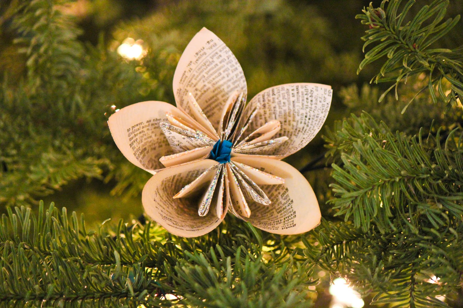 DIY Vintage Dictionary Flower Ornaments