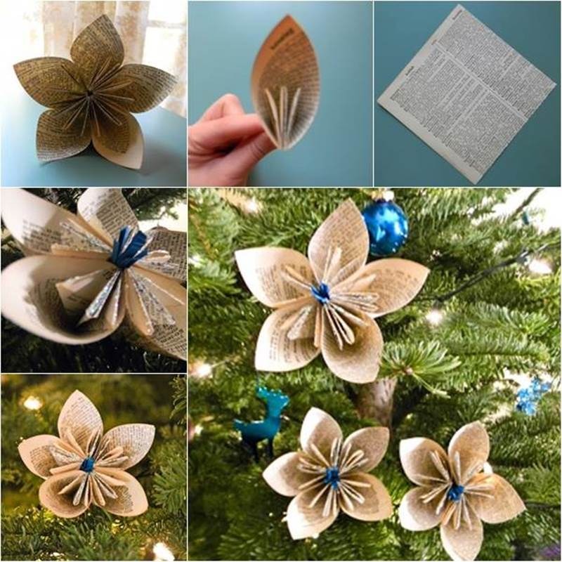 Vintage Dictionary Flower ornament DIY for Christmas